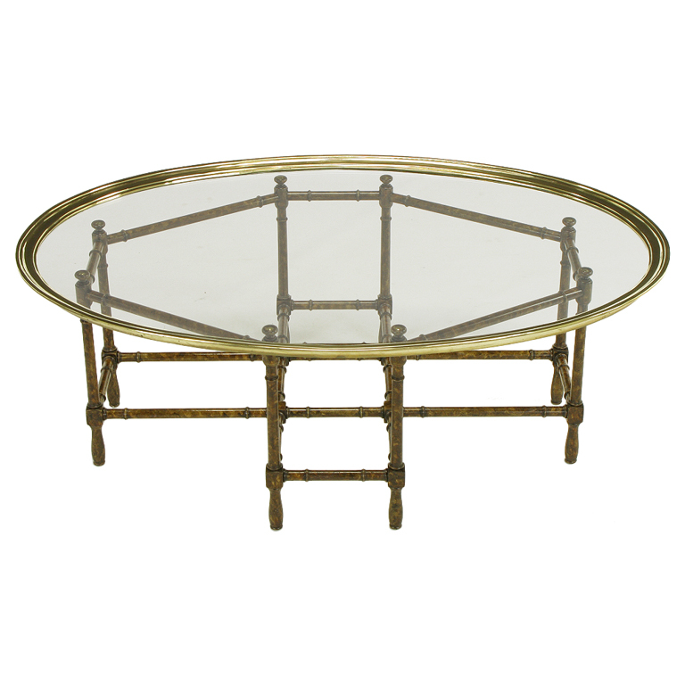 baker tortoise shell lacquered u0026 oval glass tray coffee table assemblage 1stdibs
