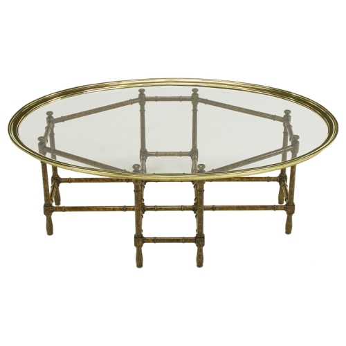 Baker Tortoise Shell Lacquered & Oval Glass Tray Coffee Table Assemblage 1stdibs 3250