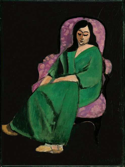 Henri Matisse (French, 1869–1954) Laurette in a Green Robe, Black Background, 1916