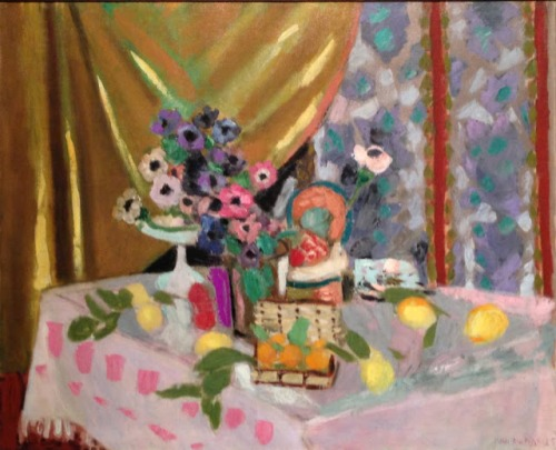 Henri Matisse, Still Life with Yellow Curtain, Anemones and Fruit, 1925