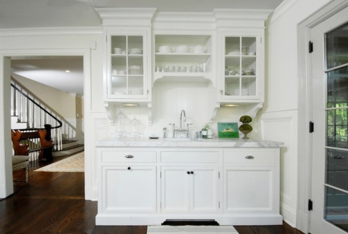 white kitchen glass cabinets via decor pad muse interiors