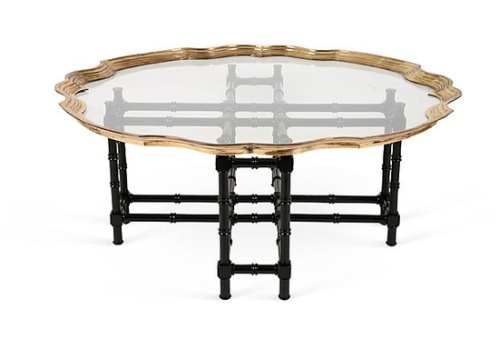 baker brass glass black bamboo table