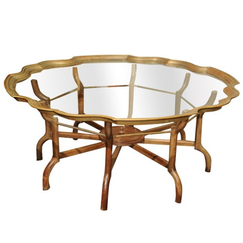 baker glass brass coffee table round wood base Homme 1stdibs