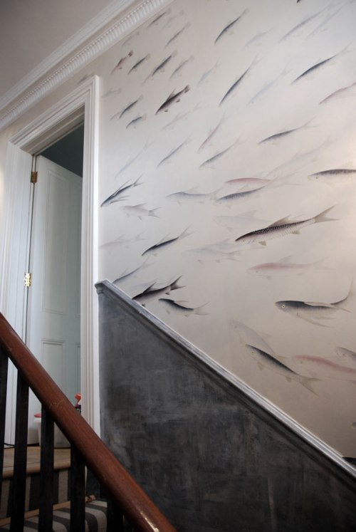 degournay Fishes' design in Blue Pearl design colours on Custom Silver gilded paper.