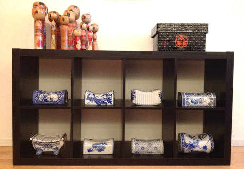 blue white porcelain pillow display