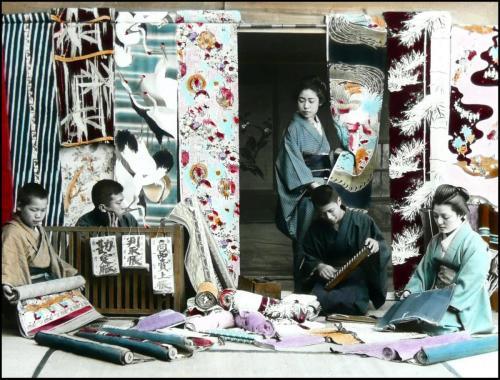 KimonoSilkStoreInOldJapan_ShowsSoroban_1890sGlassSlideOkinawaSobaCollection