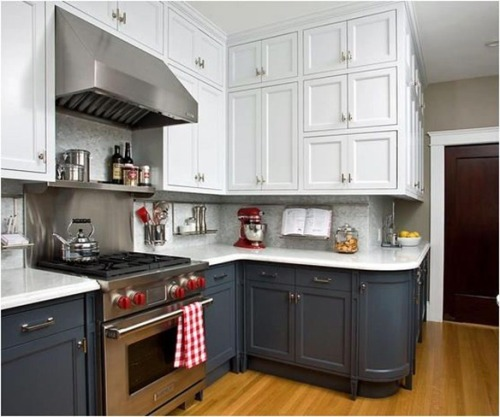 white-upper-gray-lower-kitchen-cabinets HGTV via centsationalgirl