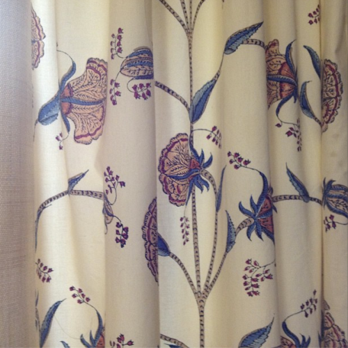Brigitte Singh Hibiscus Branch TV room curtains