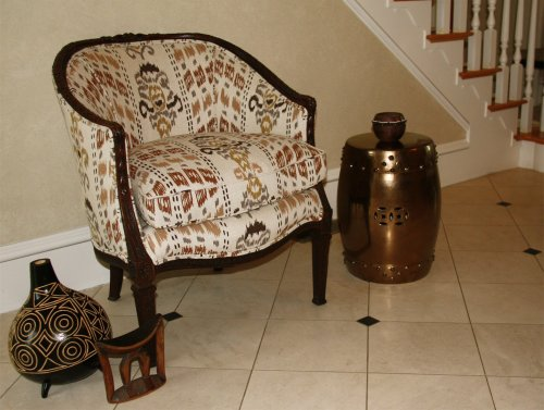 Mally Skok french tub chair-ikat brown