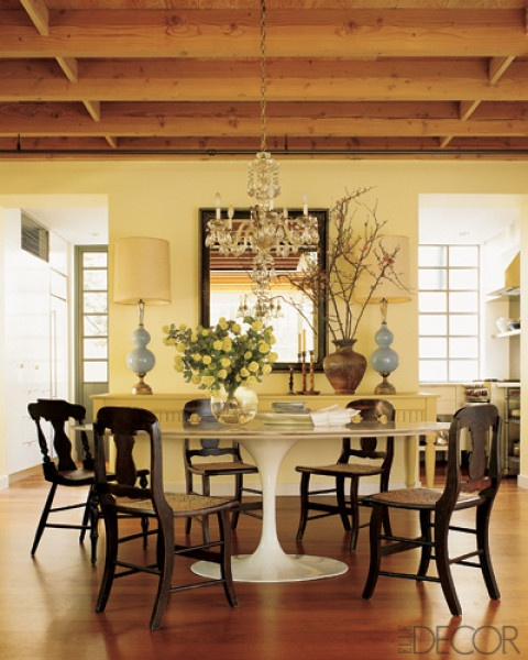 Temple St. Clair NYC Saarinen tulip table Washington vase back chairs