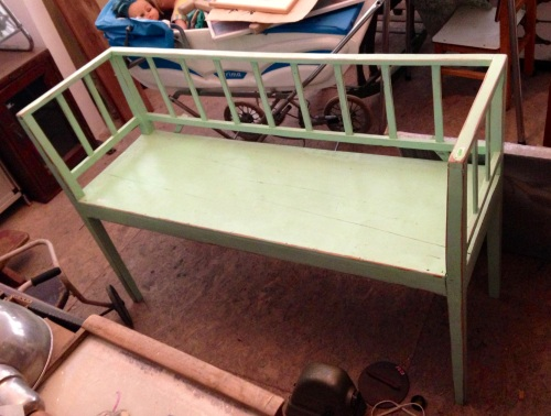mint green bench