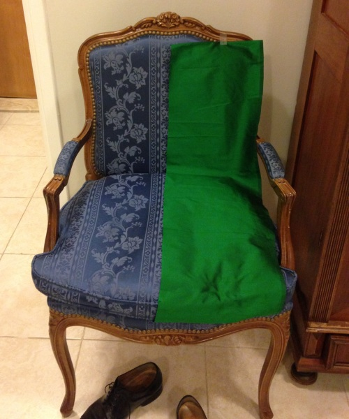 French chair with green fabric