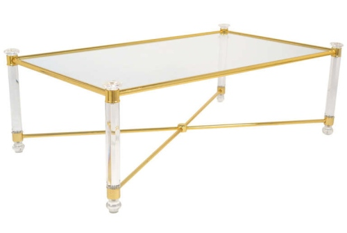 French Lucite & Gilt Brass Coffee Table 1st dibs