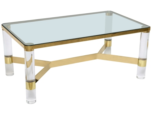 karl springer lucite and brass coffee table 1st dibs - First Dibs Home Decor