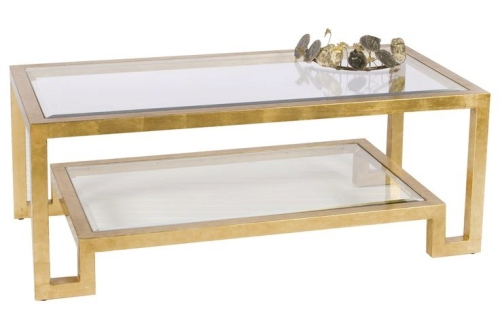 Worlds Away Winston Gold Leafed Coffee Table