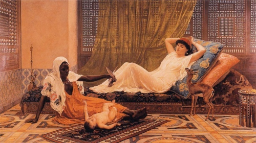 Frederick_Goodall_-_A_New_Light_in_the_Harem 1884