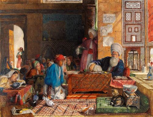 'Interior of a School, Cairo', by John Frederick Lewis, watercolour. Museum no.68-1890, © Victoria and Albert Museum, London