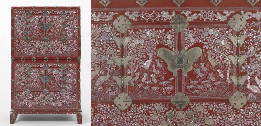 Korean 1890 1910 Inlaid Wood Lacquer Mother Of