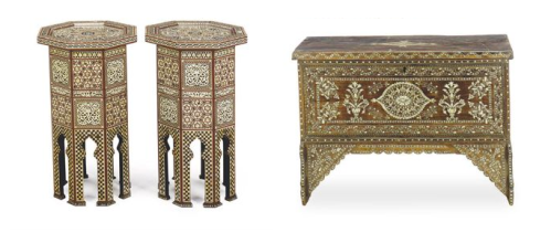 northa african mother of pearl inlaid tables and dowry chest
