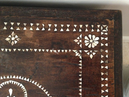 mother of pearl Lombok trunk inlay detail